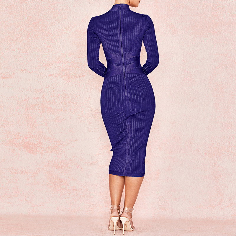 Image 5 - Ocstrade New Arrival 2020 Womens Midi Bandage Dress Red Sexy  High Neck Long Sleeve Bodycon Bandage Dress Rayon Party DressesDresses