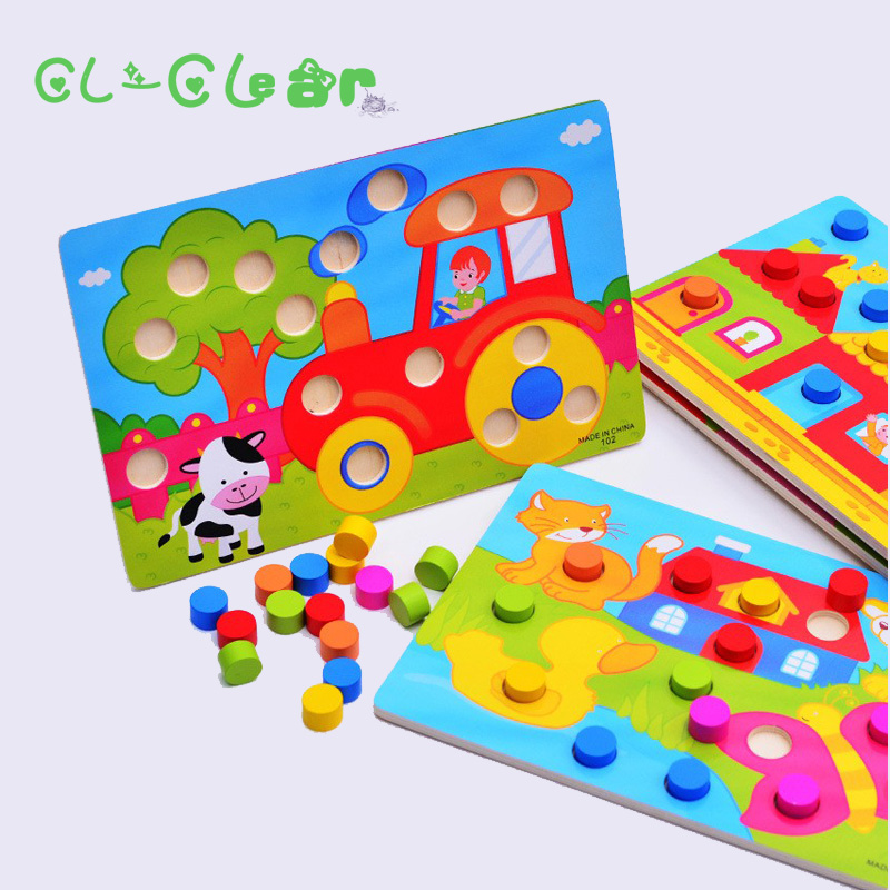 New 1pcs Wooden Tangram/Jigsaw Board Cartoon Toys Wood Puzzle For Children Kids Early Educational Learning Education Toys