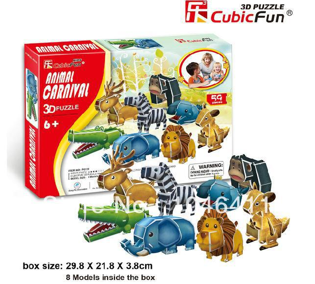 ANIMAL CARNIVAL CubicFun 3D educational puzzle Paper & EPS Model Papercraft Home Adornment for christmas gift petronas towers cubicfun 3d educational puzzle paper