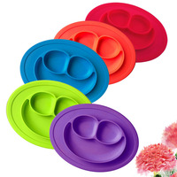 Smiling Face Silicone One Piece Eat Mat Plate Frame Side Dish Box Plates Infants Baby Children