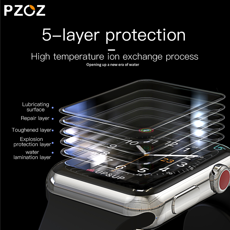 Image 5 - PZOZ For iWatch 4 3 Hydrogel Film Full Screen Protector Glass For Apple Watch 1 2 3 4 Tempered Film HD Curve Edge Glass 38/42mm-in Smart Accessories from Consumer Electronics