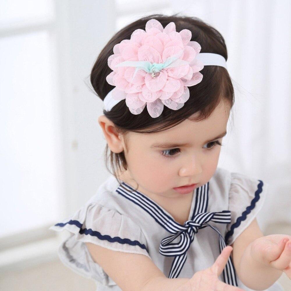 Toddler Children Hair Accessories Baby Headband Lace Flowers Elastic Headdress