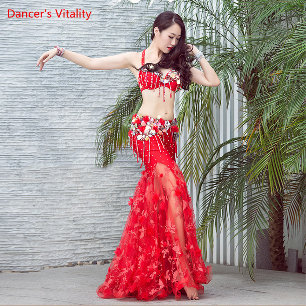 Luxury Diamond Oriental Dance Outfit Women Piece 2 Performance Belly Dance Performance Bra+long Skirt Sexy Red White
