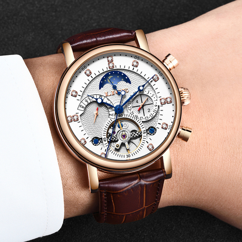 LIGE 2019 New Men Mechanical Tourbillon Luxury Fashion Brand Leather Men Sport Watches Mens Automatic Watch Relogio Masculino Multan