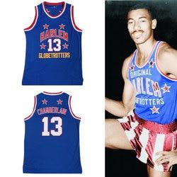 Mens #13 Wilt Chamberlain Harlem Globetrotters Cheap Throwback Basketball Jersey Retro Jerseys Vintage Basket Embroidery Shirt