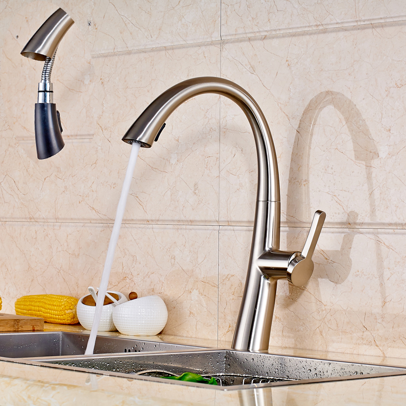 Modern Brushed Nickel Kitchen basin Sink Faucet Water Taps Pull Out Spout with Hot and Cold