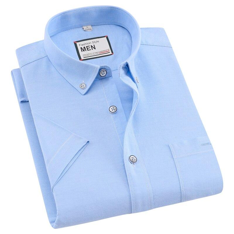 Men's Thin Short-Sleeve Solid Dress Shirt Button-down Collar Standard-fit Comfortable Soft Oxford Cotton Shirts