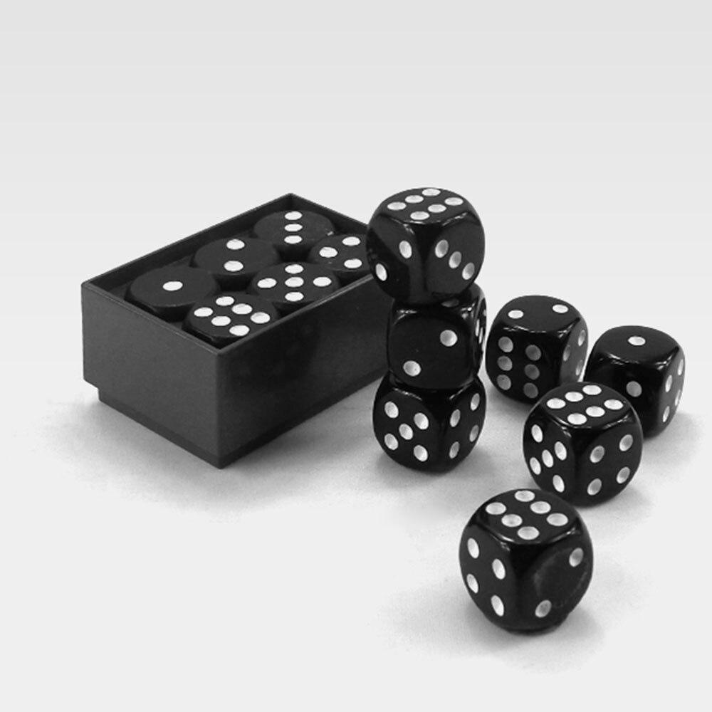 10 pçs preto conjunto de dados dados dados de rolagem jogo plástico 12mm partes jogo de tabuleiro seis lados festa clube barra entretenimento jogos