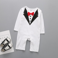 Fashion Brand Newborn Baby Boy Clothes Long Sleeve Gentleman Bow Tie Baby Rompers Roupa Infantil Cotton Next Bebes Jumpsuit