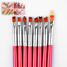 Nail Art Brush 8pcs/set Kit Gradient Red Wooden Handle Carving Flowers Shape UV Gel Polish Design Nail Drawing Painting Tools недорого