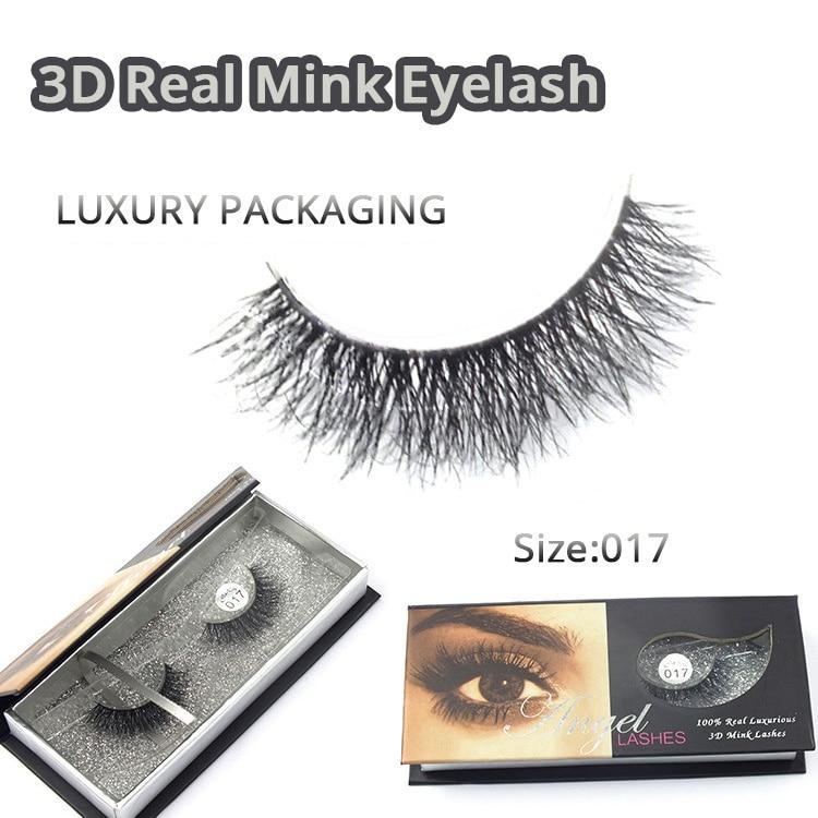1 par högkvalitativ 3D-mode Bushy Cross Natural False Eyelashes Mink - Smink