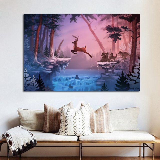 Winter Forest Nature Deer Wolves Animal Fairy Ly32 Living Room Home Wall Modern Art Decor Wood