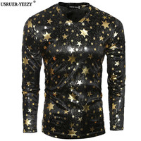 USRUER YEEZY Mens T Shirt Promotion New Punk Rave Rock Fashion Casual Black Gothic Star Long