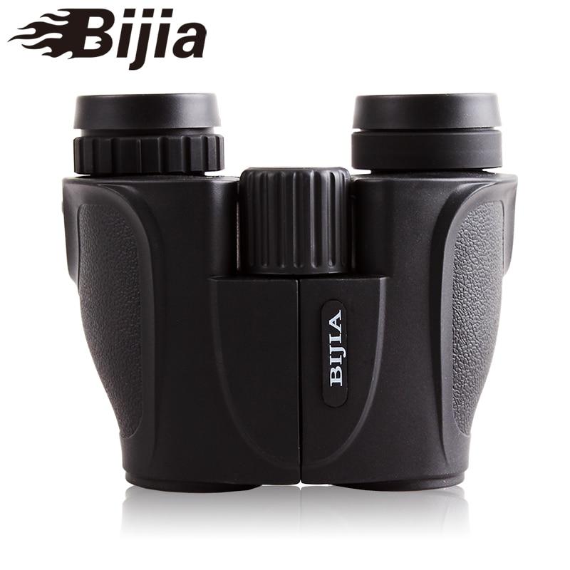 Portable HD Binocular Telescope BIJIA 10x25 Zoom 10X FMC Green Binoculars for Outdoor Hunting Concerts etc bijia professional optic night vision telescope 8 24x50 zoom binoculars hd waterproof for outdoor camping with tripod interface