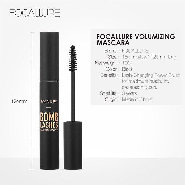 FOCALLURE Professional 3D Black Volume Curling Makeup Waterproof Thick Lengthening Eyes Beauty Makeup 5