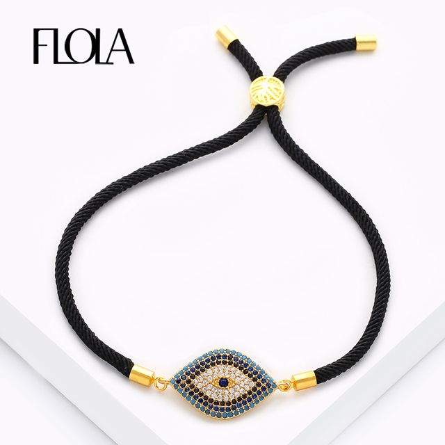FLOLA Turkish Zircon Evil Eye Charm Bracelets for Women Men Black & Red Rope Bracelets Vintage Jewelry Gift Pulseira brta62
