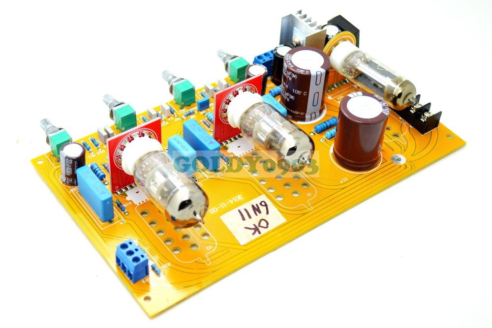 New Bile AC Dual-Channel Preamp Tube Amplifier Preamp Bile Tone Board 6N11-J(6DJ8/ECC88/6922) Preamplifier Board aiyima tube amplifier audio board amplificador 6j8 two channel preamplifier bile preamp 6j8 tube amp