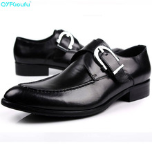 European Style Handmade Genuine Leather Men Black Monk Strap Formal Shoes Office Business Wedding Dress Loafer