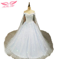 Princess Small Flower Blue Lace Wedding Dress White Flower Lace Beading Wedding Dress 17 6 23