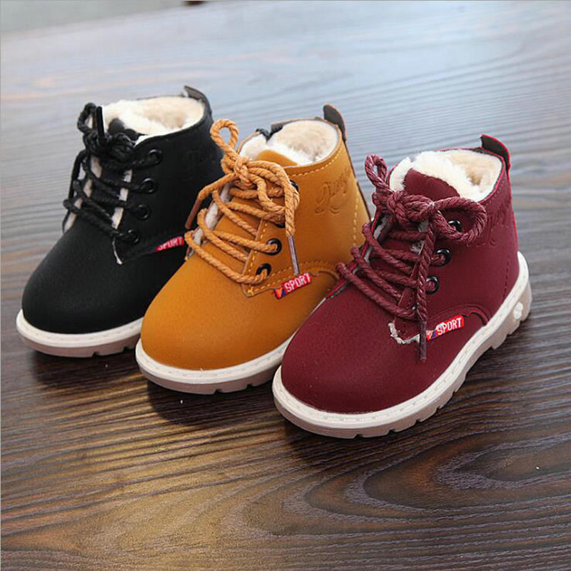 Hot Sale Children Martin Boots Leather Shoes Boys Autumn Winter Warm Cotton Shoes Fashion Girls Kids Boots Non-slip