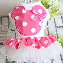 Cartoon Mickey Personality Dog Wedding Dress Tutu Pet Puppy Skirt Dresses Bowknot&Lace Design Clothes 5 sizes Red Pink