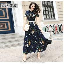 2017 Spring and summer new arrival chiffon dress women's plus size elegant slim print short sleeve full length dress female