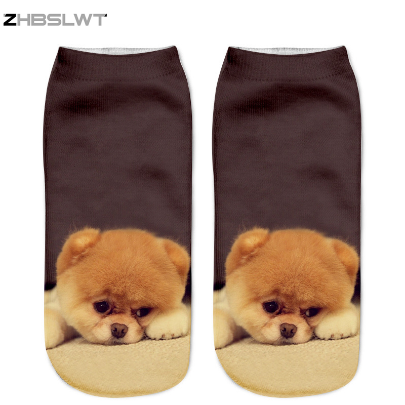 ZHBSLWT New 3D Printed Women Socks Unisex Cute Low Cut Ankle Socks Multiple Colors Women's Casual Animal Dog -01