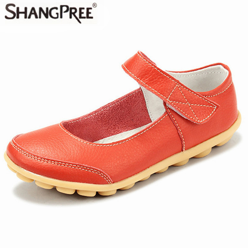 Large Size 35-43 Mother Comfortable Shoe Genuine Leather Non-slip soles Women Shoes Flats Loafers Hook & Loop Woman Flat Shoes fashion brand genuine leather shoes for women casual mother loafers soft and comfortable oxfords lace up non slip flat moccasins
