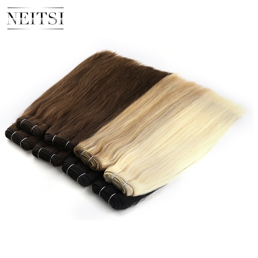 """Neitsi Straight Remy Human Hair Extensions 12"""" 26"""" 110g/Pc 1 1b 2 3 4 6 60 P27/613 P18/613 Double Drawn Hair Weft"""