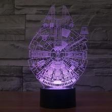 QICSYXJ Kreatív Ajándék 3d Színátmenet Csillagok háborúja Millennium Falcon BB8 Halálcsillag Yoda R2D2 TIE harcos Jedi modell lámpa játék