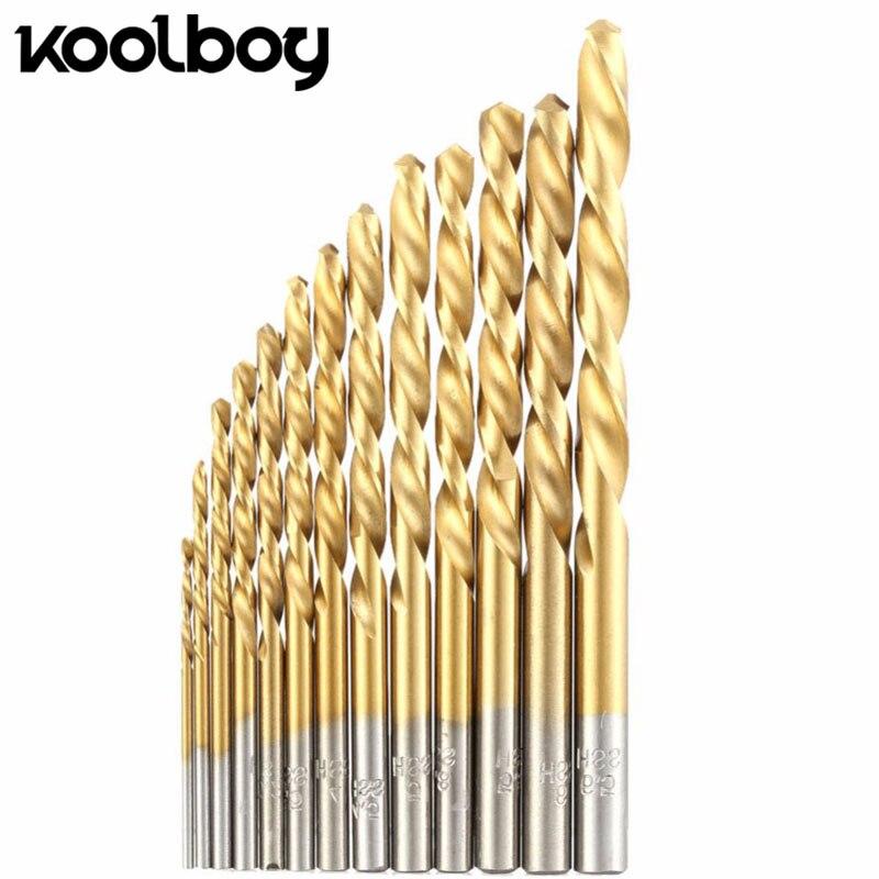 Koolboy 13 шт. прямо круглый хвоствик бит 1,5-6,5 мм высокоскоростной Сталь покрытие Титан бурения инструменты для деревообработки