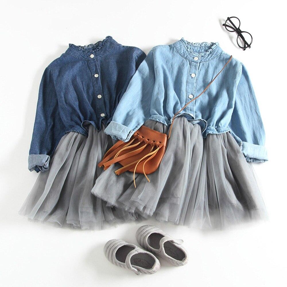 New Arrival Kids Girls Lace Patchwork Mesh Princess Dress