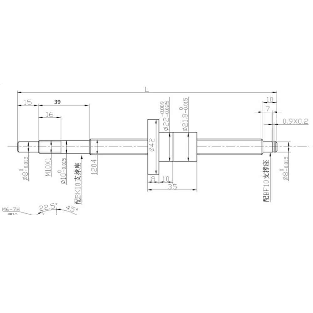 SFU1204 L300mm laminati vite della sfera di cnc C7 con 1204 flangia sfera singolo dado per BK/BF10 fine lavorazione CNC parti di SFU1204-L-300mm
