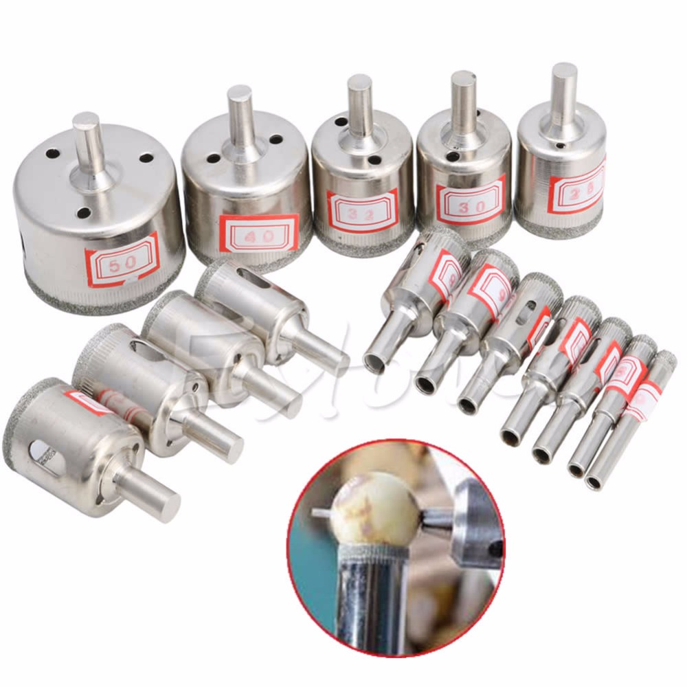 15pcs/Set 6mm-50mm Diamond Hole Saw Marble Drill Bit Tile Ceramic Glass Porcelain