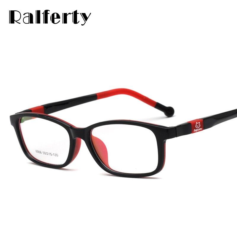 e262b396b3 Ralferty Children Glasses Frame Ultra-Light TR90 Silicone Eyeglasses  Cartoon Cat Eyewear Frames Kids Prescription