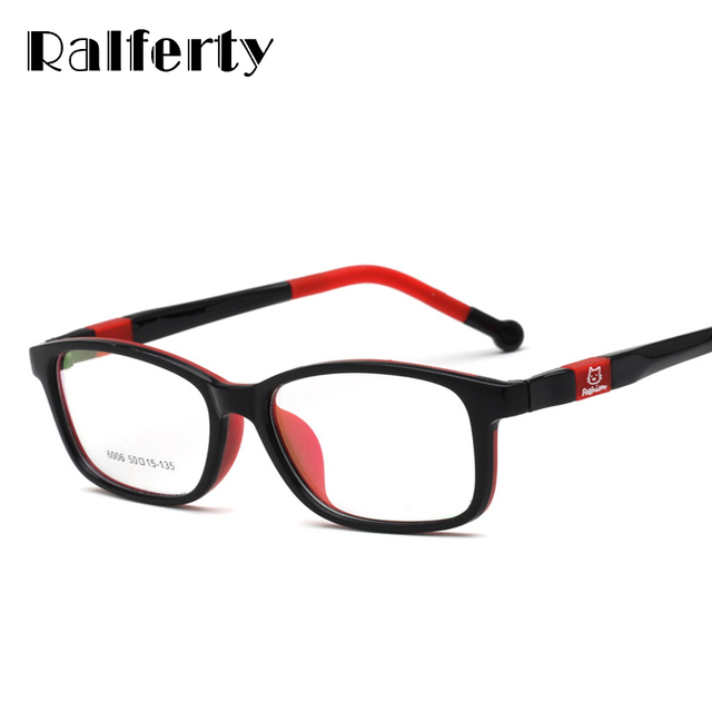 eb54263d1d1 Ralferty Children Glasses Frame Ultra-Light TR90 Silicone Eyeglasses  Cartoon Cat Eyewear Frames Kids Prescription Glasses O6006