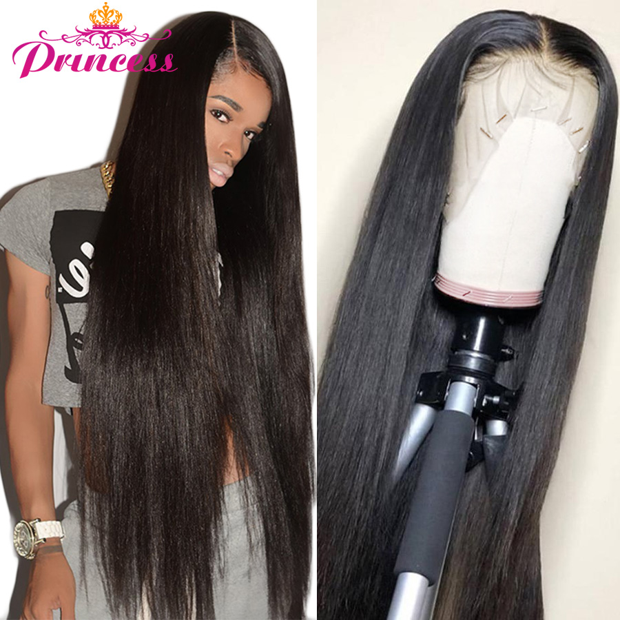 Beautiful Princess 13x4 Lace Front Human Hair Wigs Pre Plucked Hair Line Brazilian Straight Lace Frontal Wig With Baby Hair Remy(China)