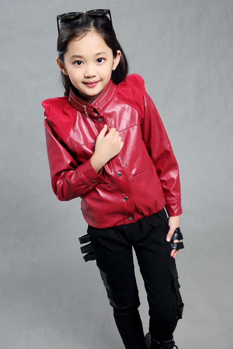 Fashion Girls Pu киім жиынтығы қара қызыл түс - Балалар киімі - фото 5