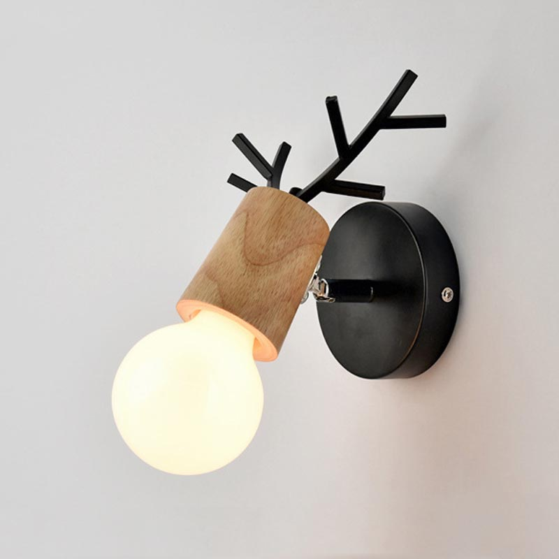 Nordic Vintage Antler Wall Lamp Contemporary Art Dec Black White Wood Antler Wall Light Sconce Bedside Reading Adjustable Arm Light Bedroom Wall Lamp (5)