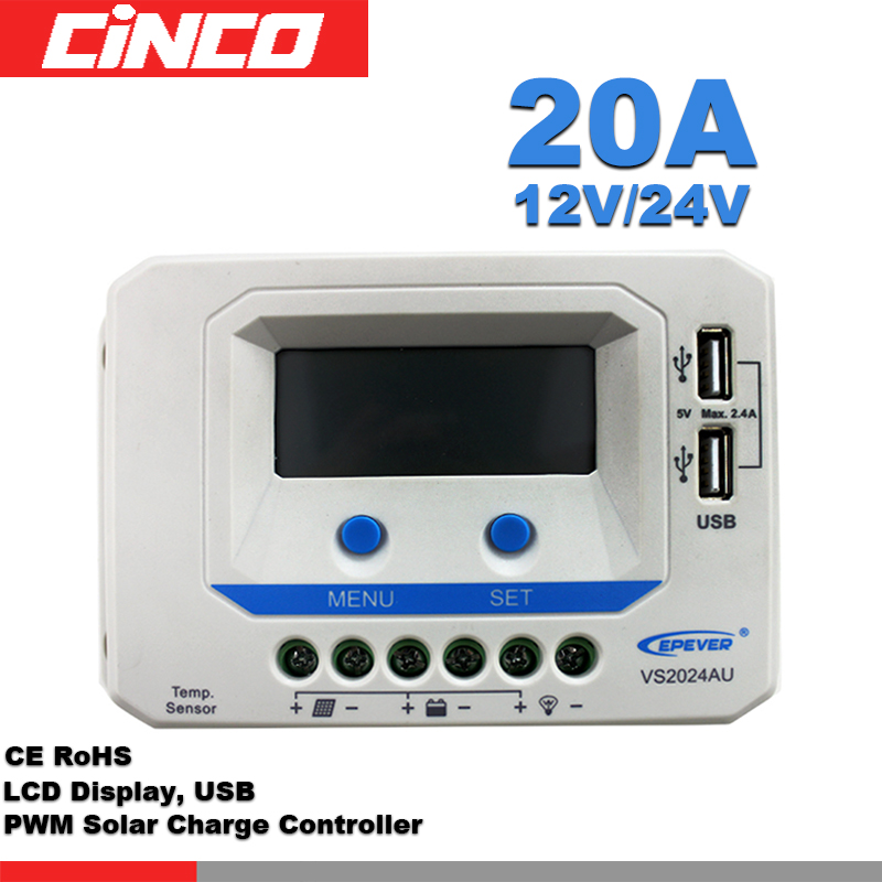 solar charge controller VS2024AU 20A 12V/24V  positive grounding with LCD display 5VDC doubel USB output solar charge controller VS2024AU 20A 12V/24V  positive grounding with LCD display 5VDC doubel USB output