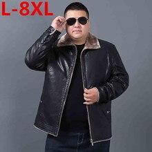 Plus size 10XL 8XL 6XL 5X Winter Mens Genuine Leather Jacket Brand Clothing Sheepskin Coat Rex Rabbit Fur Parka with Mink Collar