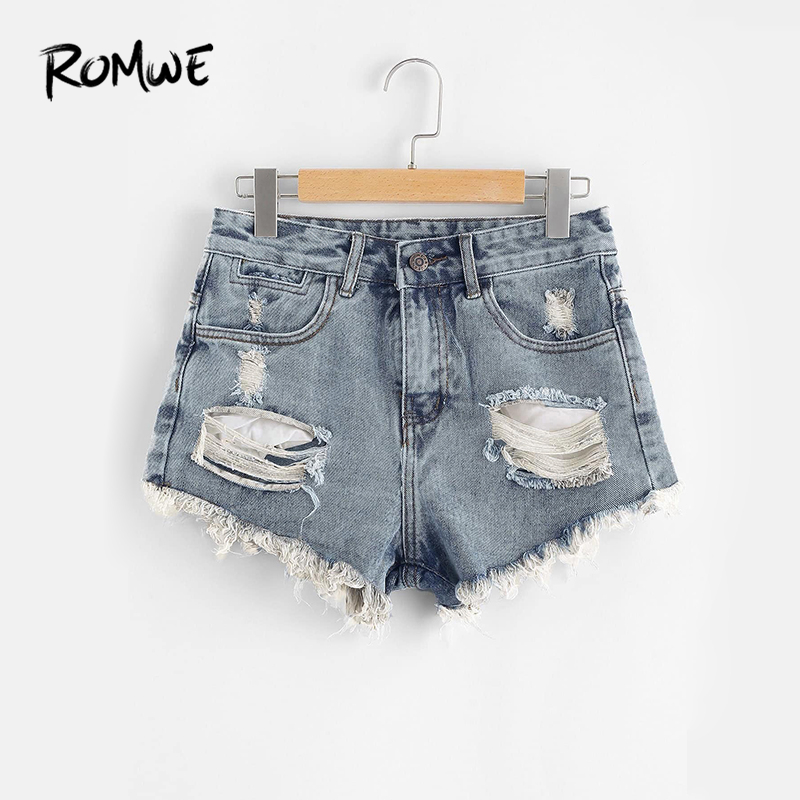 ROMWE Blue Ripped Denim   Shorts     Shorts   Summer Fashion Blue Mid Waist Women   Shorts   Button Fly Ripped   Shorts