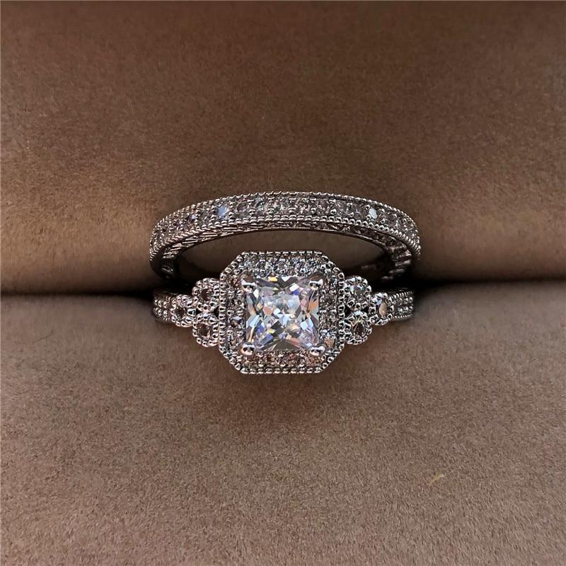 Luxury White Zircon Stone Ring Set New Fashion 925 Silver Engagement Ring Vintage Wedding Rings For Women Bridal Sets