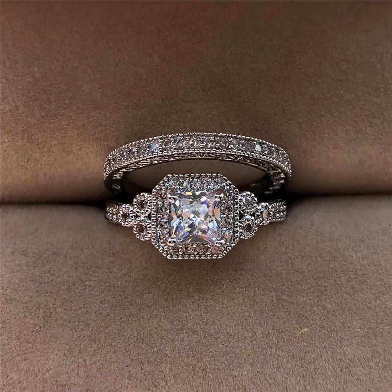 Luxury White Zircon แหวนหินชุดใหม่แฟชั่น 925 แหวนเงินแหวนแต่งงาน Vintage ชุดเจ้าสาว