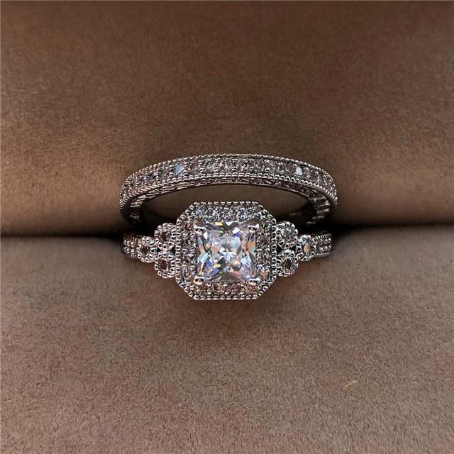 Luxury White Zircon Stone Ring Set New Fashion 925 Silver