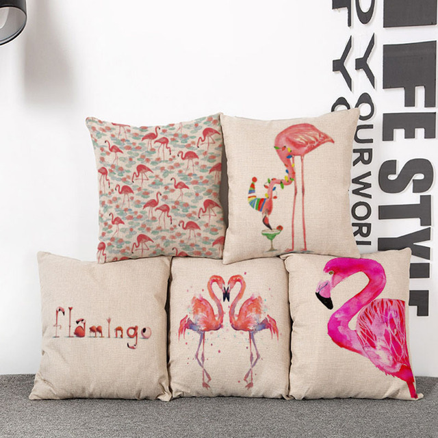 flamingo decorative pattern cushions of sofa 45x45cm of party home