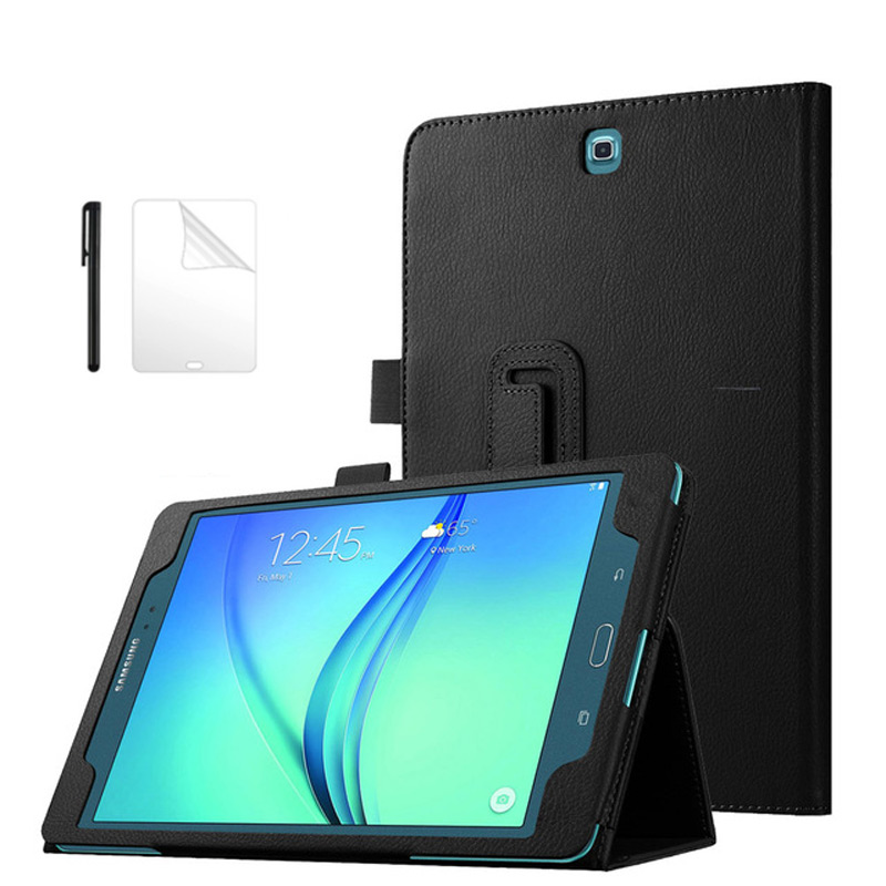 Magnetic PU Leather Case For Samsung Galaxy Tab A T550 P550 SM-T550 9.7 Inch Flip Stand PU Leather Smart Cover Case+Film+Pen