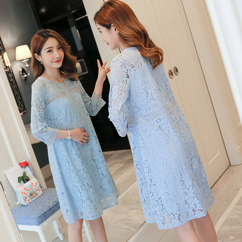 Pregnant Maternidade Dresses For Photo Shoot 2018 New Dress Spring-summer Lace Fashion Hollow Clothes Casual Round-neck Chiffon