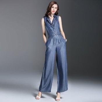 Женский двубортный комбинезон без рукавов, повседневный джинсовый комбинезон с широкими штанинами для лета и весны