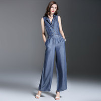 Summer Spring Fashion Womens Double Breasted Sleeveless Jumpsuits , Overalls , Casual Female Wide Leg Jeans Jumpsuit For Women